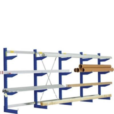 BITO Kragarmregal Einseitig / Typ L / Ständerhöhe Höhe 1980mm / Armtiefe 500mm / 175kg pro Arm  / Länge ca. 4,40 Meter